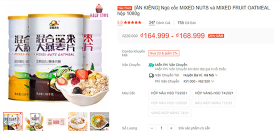 giá bán ngũ cốc hoa quả