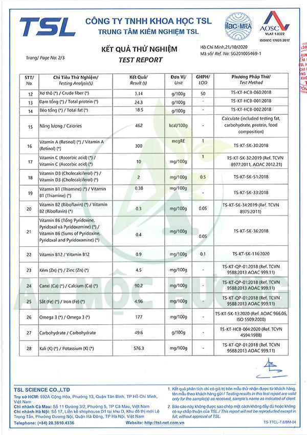 bảng kiểm nghiệm thành phần dinh dưỡng trong ngũ cốc An Mộc Hương